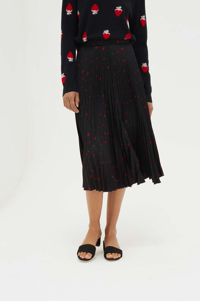 Black Silk Strawberry Fields Skirt image 4