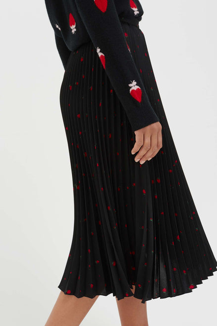 Black Strawberry Field Silk Skirt