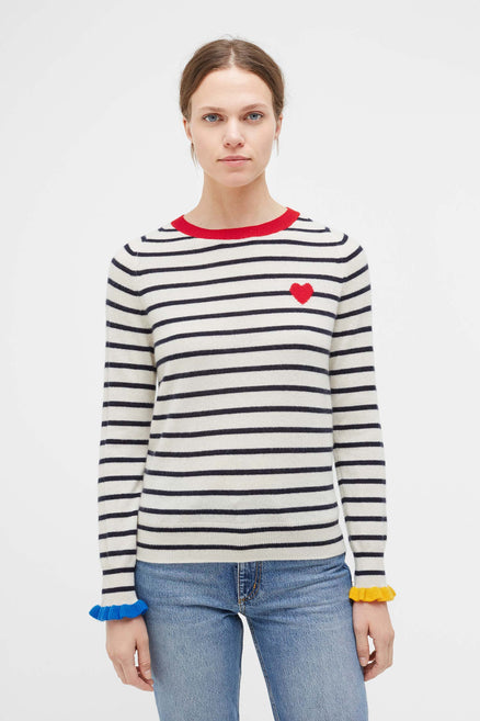 Striped Cashmere Sweater with Frill Cuff
