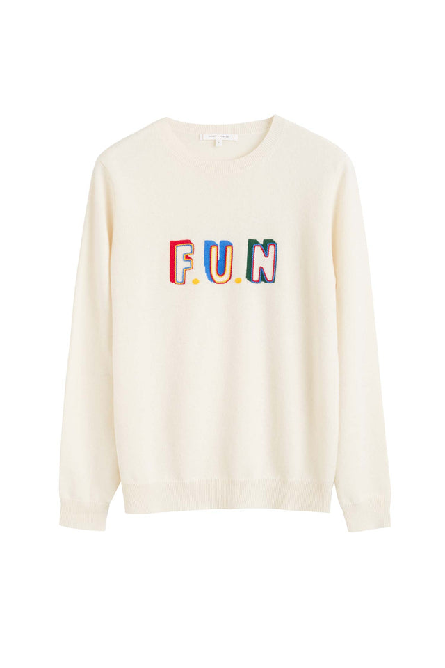 Cream Fun Cashmere Sweater image 2