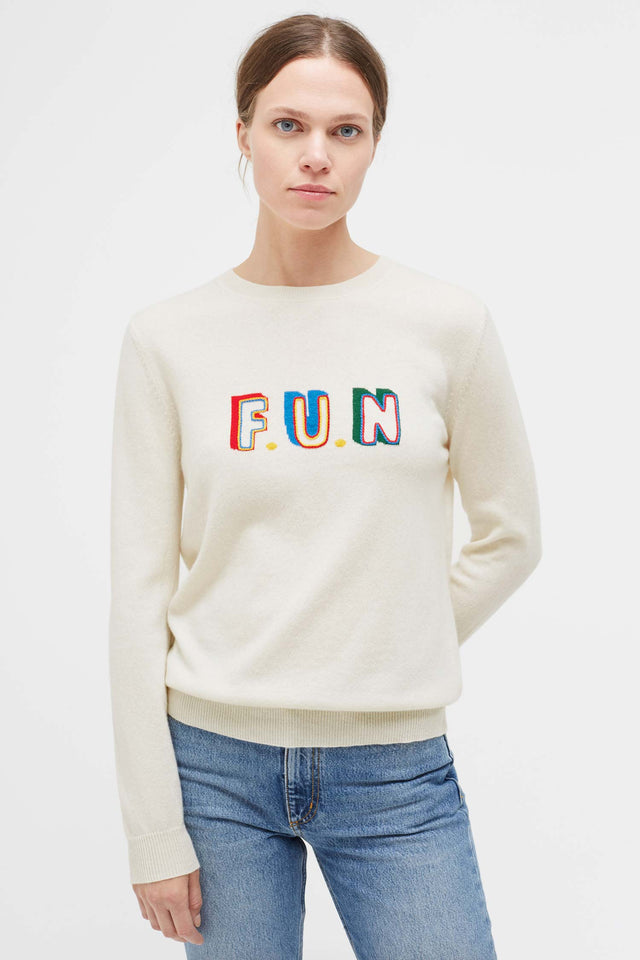 Cream Fun Cashmere Sweater image 1