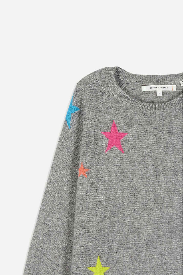 Grey Cashmere Star Sweater 8-12 Years image 3
