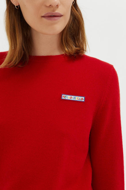 Red Hello Badge Cashmere Sweater