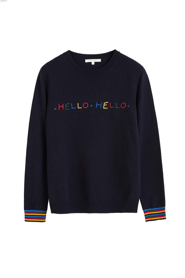 Navy Hello Hello Wool Sweater image 2