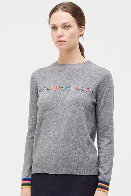 Grey Hello Hello Wool Sweater