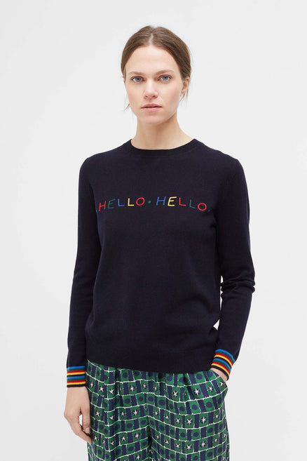Navy Hello Hello Wool Sweater