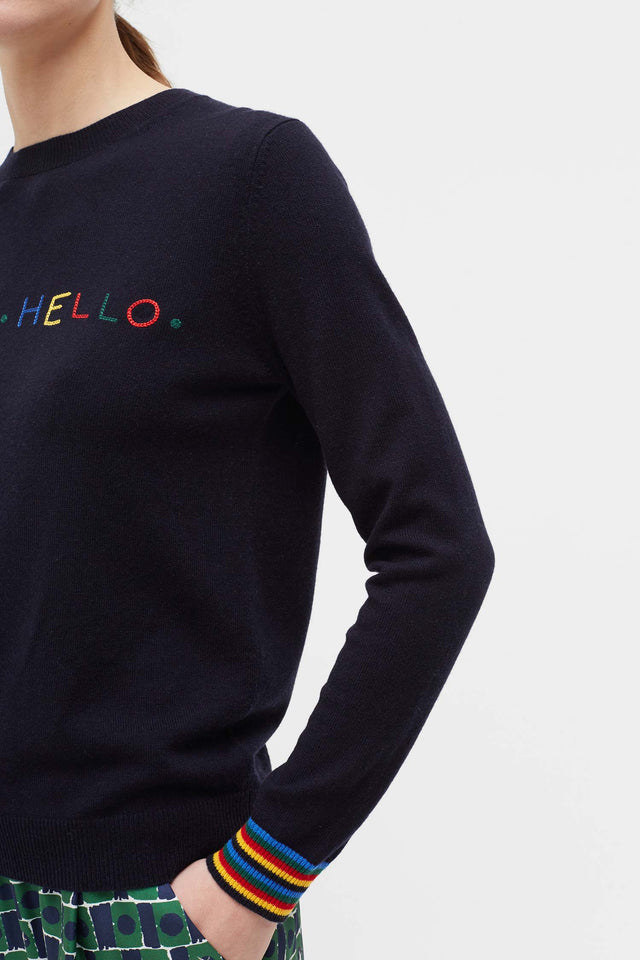 Navy Hello Hello Wool Sweater image 4