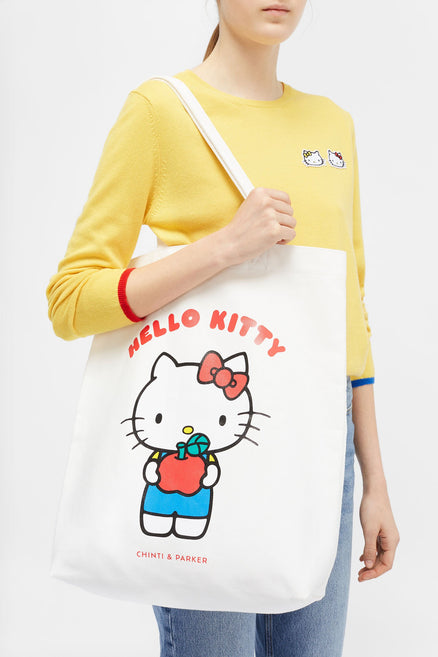 White Hello Kitty Apples Cotton Tote
