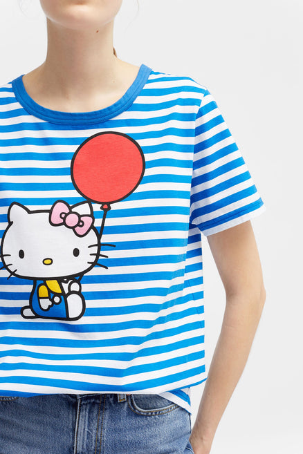 Blue Hello Kitty Balloon Cotton Tee