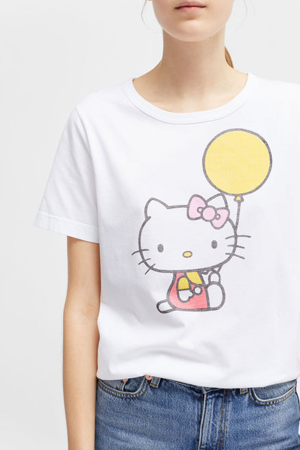 White Hello Kitty Balloon Cotton Tee