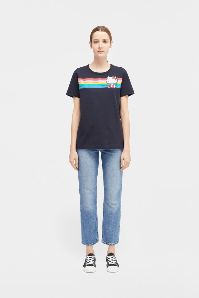 Navy Hello Kitty Rainbow Stripe Cotton Tee image 3