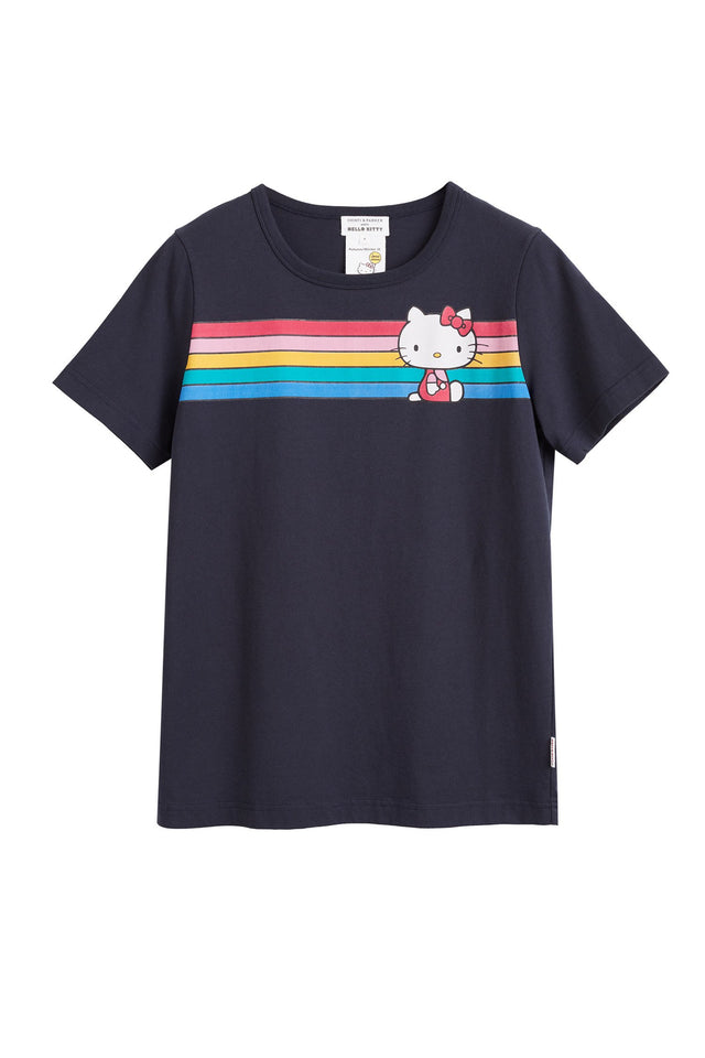 Navy Hello Kitty Rainbow Stripe Cotton Tee image 2