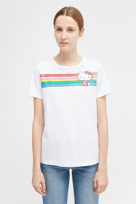 White Hello Kitty Rainbow Stripe Cotton Tee
