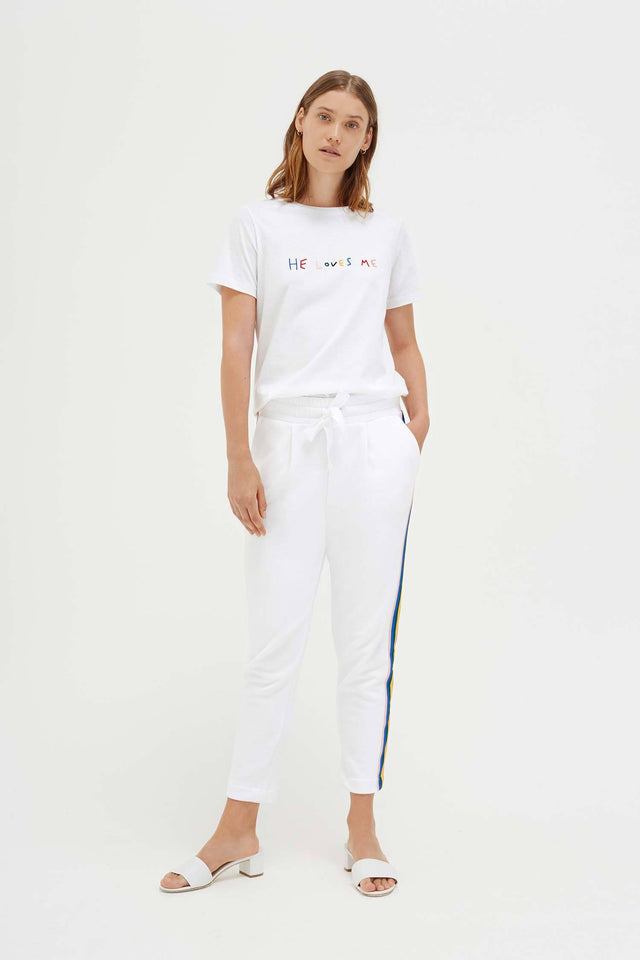 White Cotton He Loves Me T-Shirt image 5
