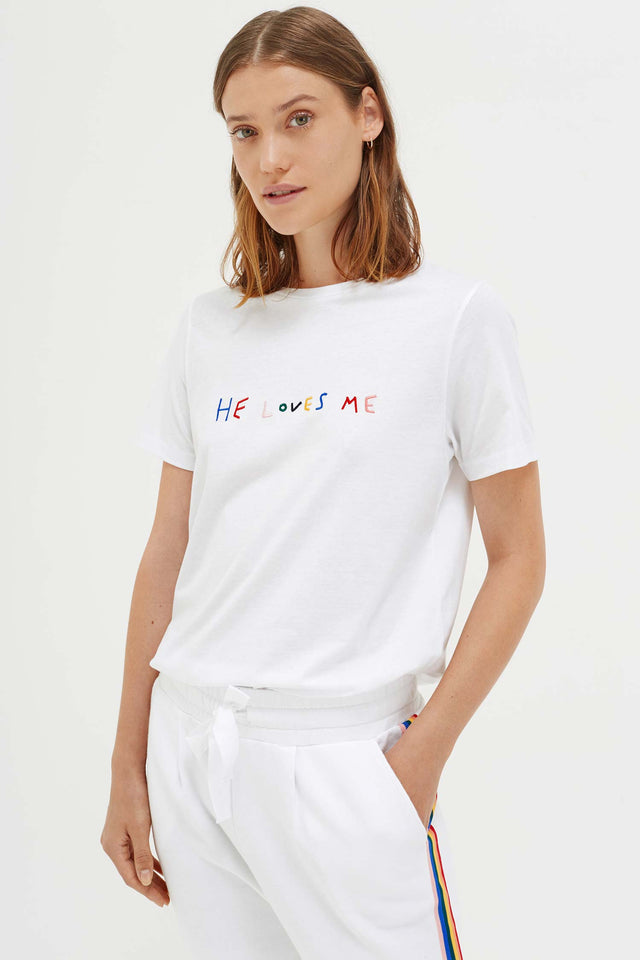 White Cotton He Loves Me T-Shirt image 1
