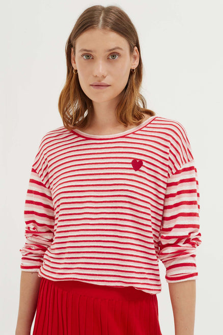 Pink Linen Isabel Long Sleeve T-Shirt