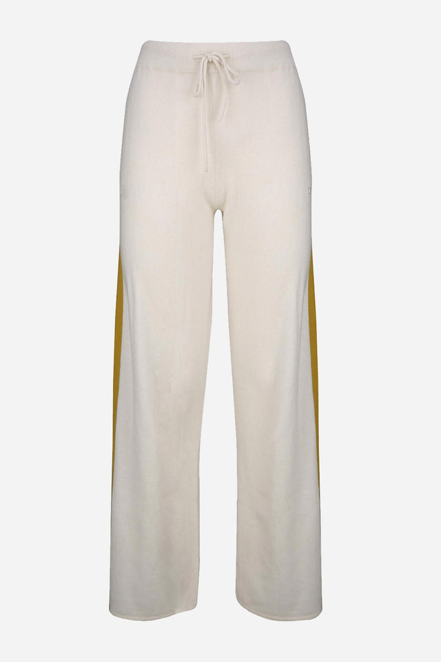 Cream Side-Stripe Cashmere Palazzo Pants image 1