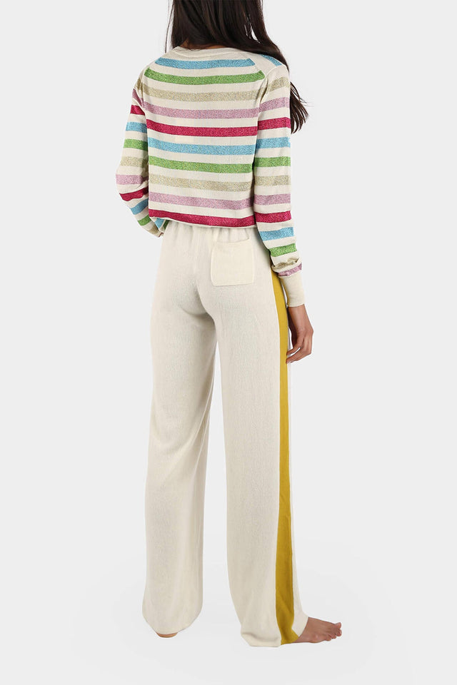 Cream Side-Stripe Cashmere Palazzo Pants image 3