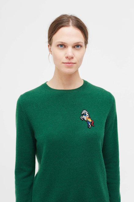 Green Jewelled Horse Cashmere Sweater