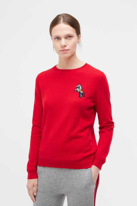 Red Jewelled Horse Cashmere Sweater
