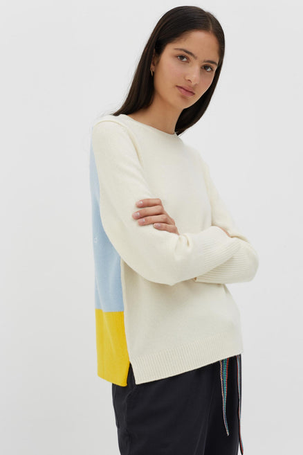 Cream Ribbed Back Cashmere Sweater