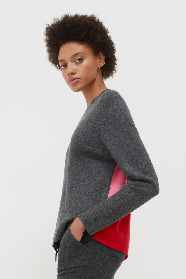 Grey Ribbed Back Cashmere Sweater image 1