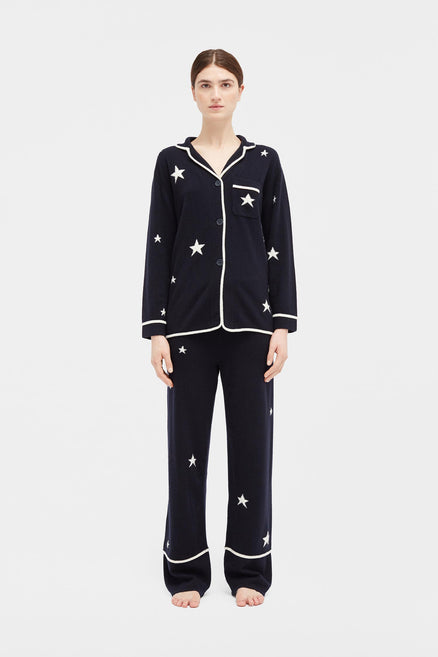 Navy Star Cashmere Pyjama Top