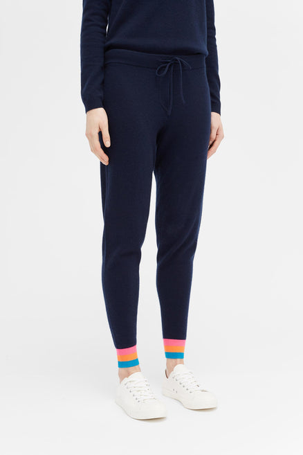 Navy Stripe Cashmere Track Pants