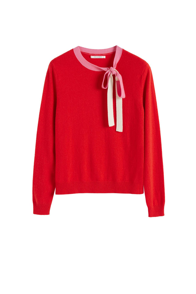 Red Tie Neck Cashmere-Wool Sweater image 2