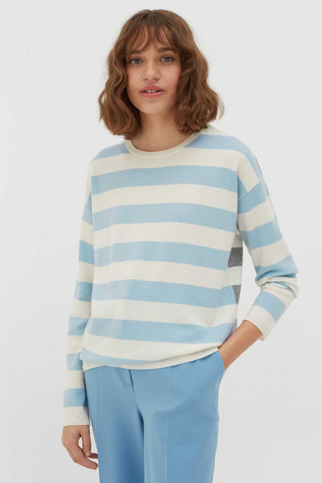 Blue Pop Striped Wool-Cashmere Sweater image 1