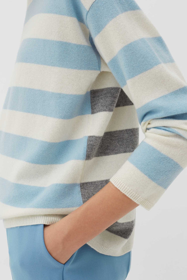 Blue Pop Striped Wool-Cashmere Sweater image 4