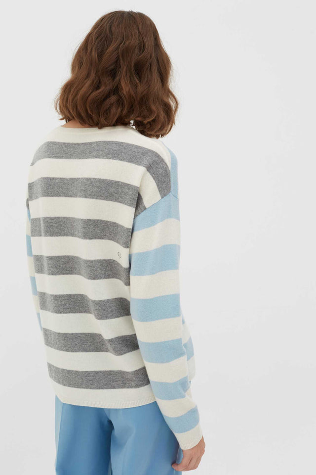 Blue Pop Striped Wool-Cashmere Sweater image 3