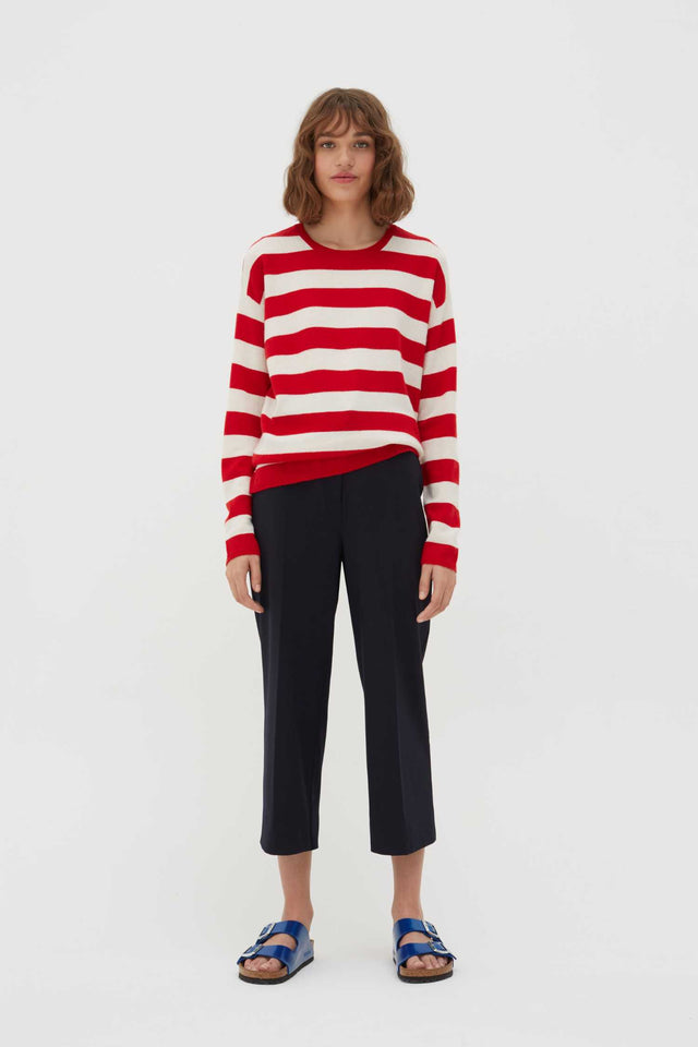 Red Pop Striped Wool-Cashmere Sweater image 2