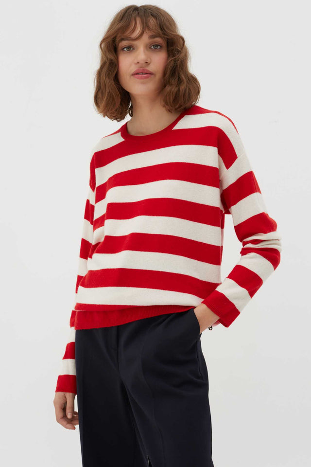 Red Pop Striped Wool-Cashmere Sweater image 1