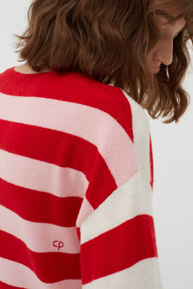 Red Pop Striped Wool-Cashmere Sweater image 4