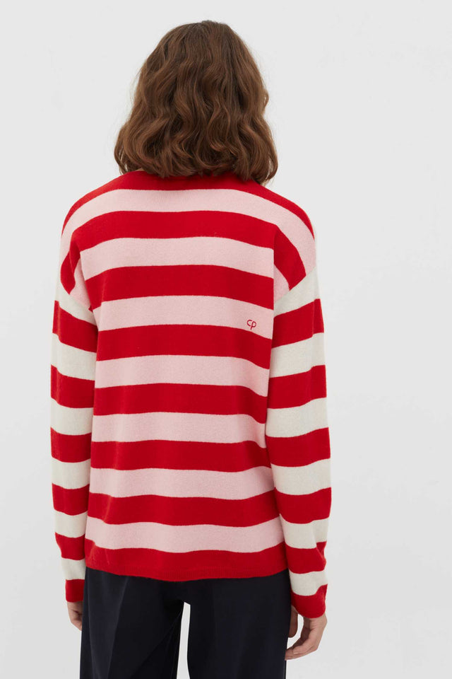 Red Pop Striped Wool-Cashmere Sweater image 3