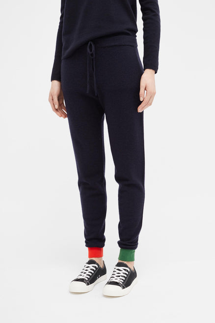 Navy Colour Block Cuff Track Pants