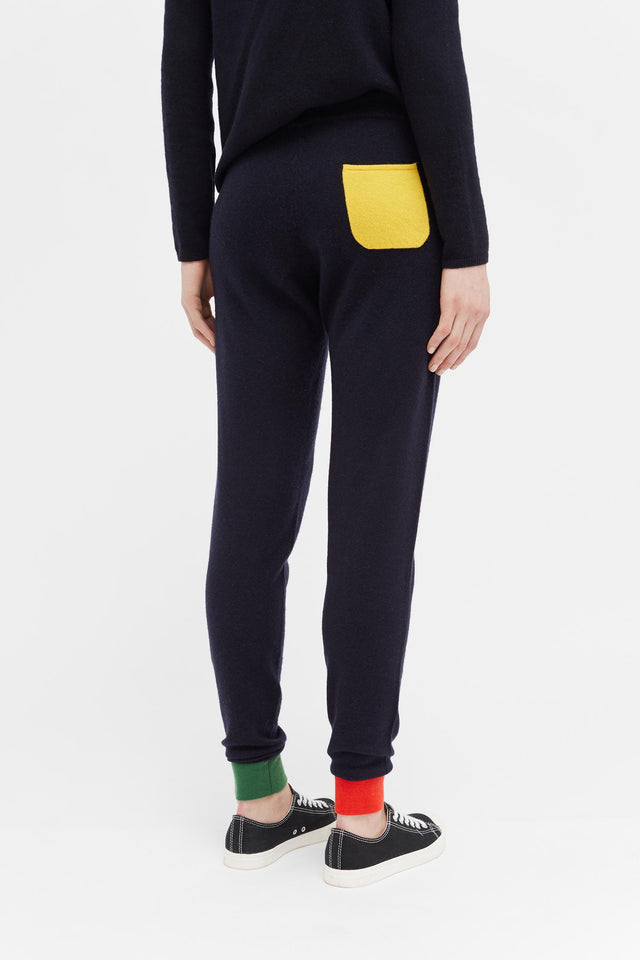 Navy Colour Block Cuff Track Pants image 4