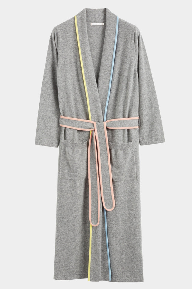 Grey Cashmere Belted Dressing Gown image 5