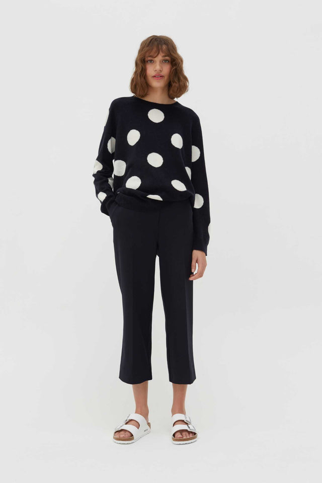 Navy Spot Wool-Cashmere Sweater image 2