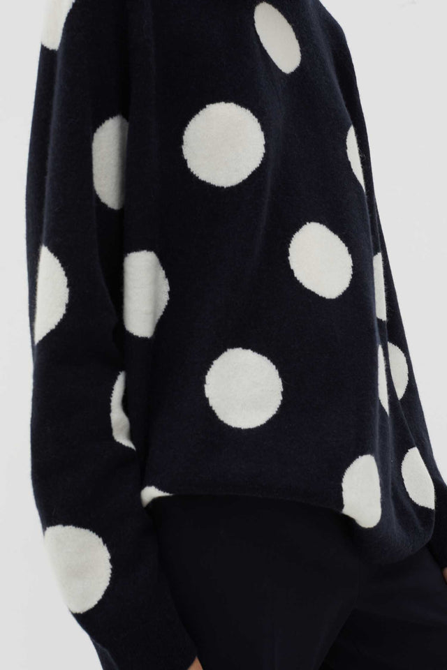 Navy Spot Wool-Cashmere Sweater image 4