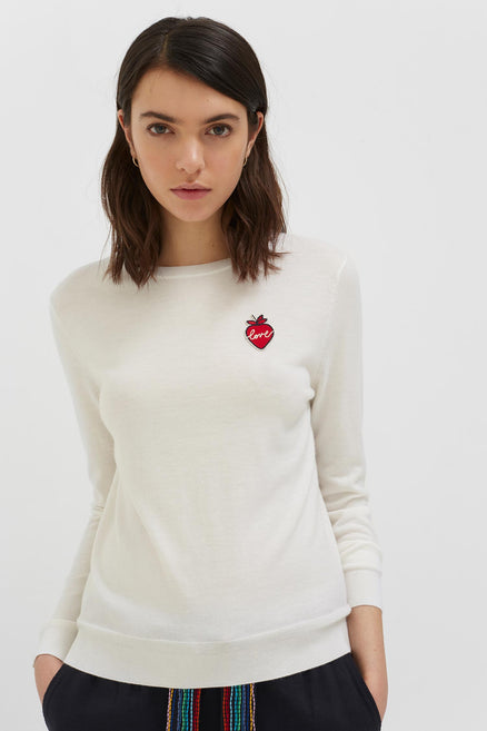 Cream Cashmere Strawberry Badge Sweater