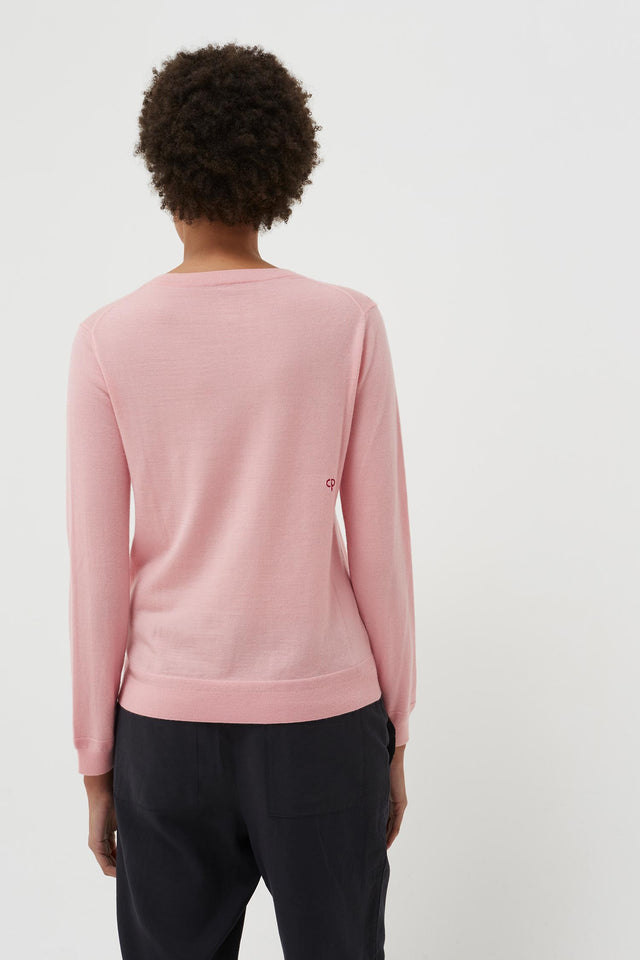 Pink Cashmere Strawberry Badge Sweater image 5