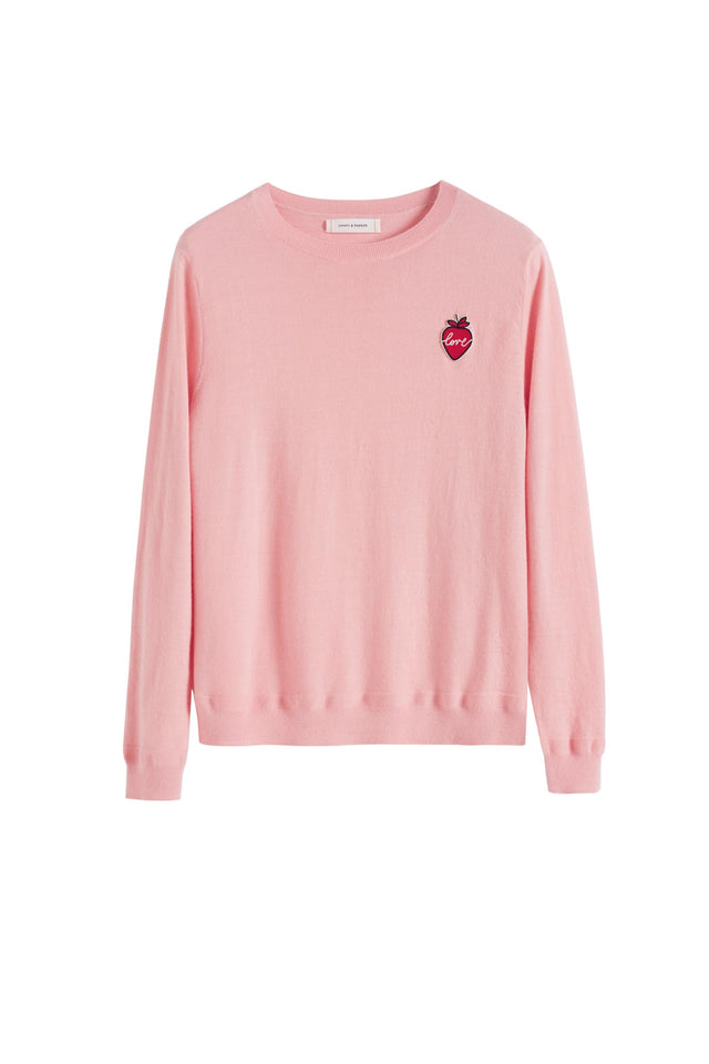 Pink Cashmere Strawberry Badge Sweater image 2