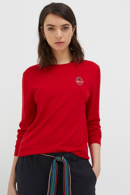Red Cashmere Strawberry Badge Sweater