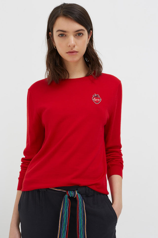 Red Cashmere Strawberry Badge Sweater image 1