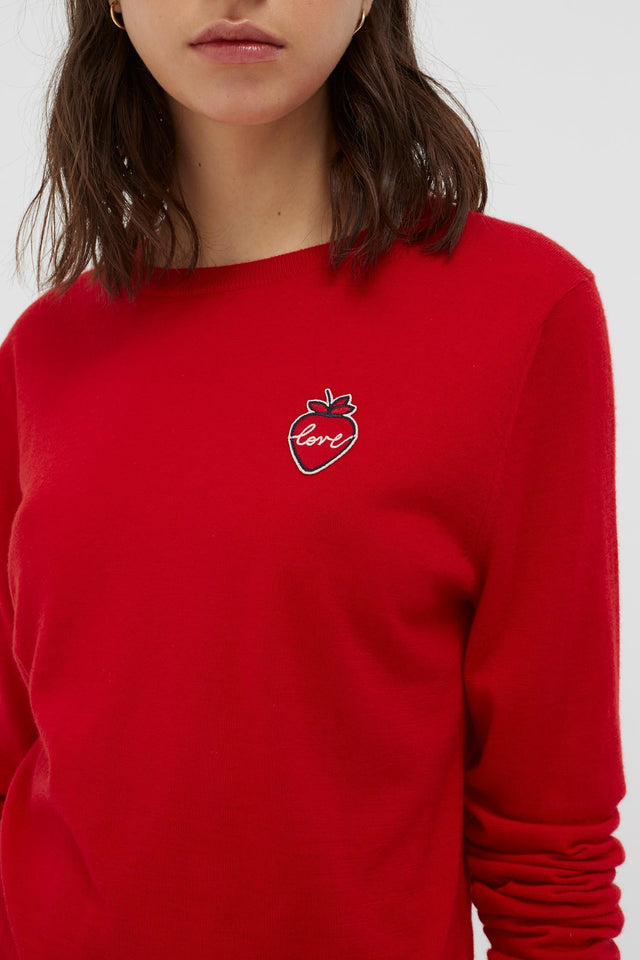 Red Cashmere Strawberry Badge Sweater image 4