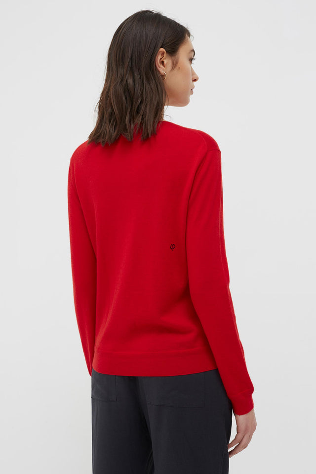 Red Cashmere Strawberry Badge Sweater image 5