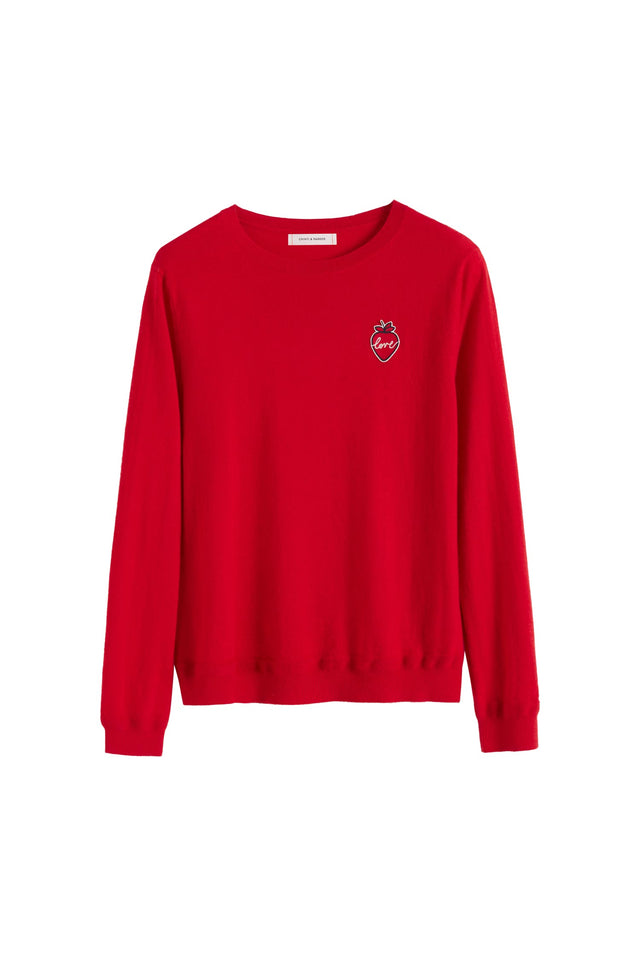 Red Cashmere Strawberry Badge Sweater image 2
