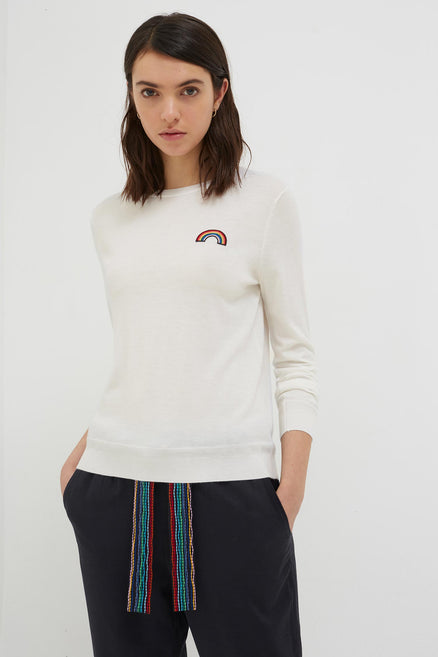 Cream Cashmere Rainbow Badge Sweater